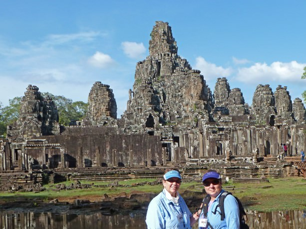 Jill and Viv at Angkor Thom, Cambodia