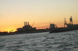 View of sunset from catamarin sail