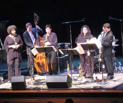Duke Ellington Legacy Band at Gold Coast Jazz Society concert, bank leader Virginia Mayhew on sax