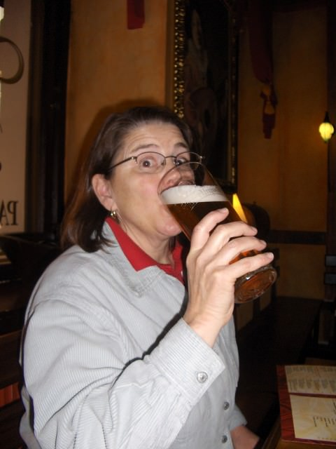 Jill Drinking Pils in Prague