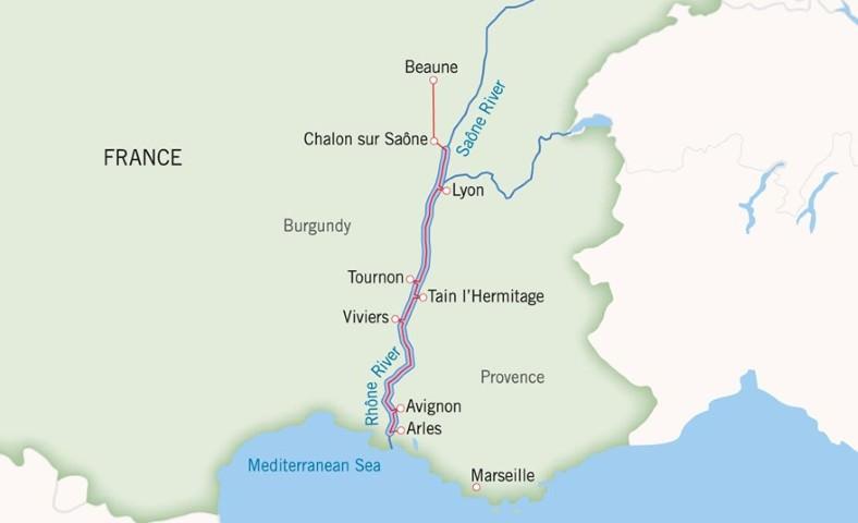 Uniworld Rhone and Saone Cruise Itinerary Map