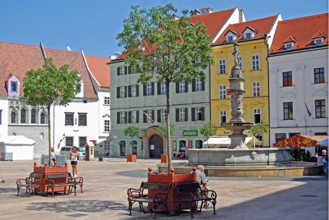 Bratislava Main Square Fountain