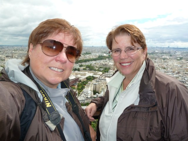 Viv and Jill Enjoy Splendid Views of Paris from the Eiffel Tower