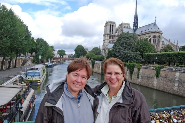 Viv and Jill at Notre Dame in Paris with Globus
