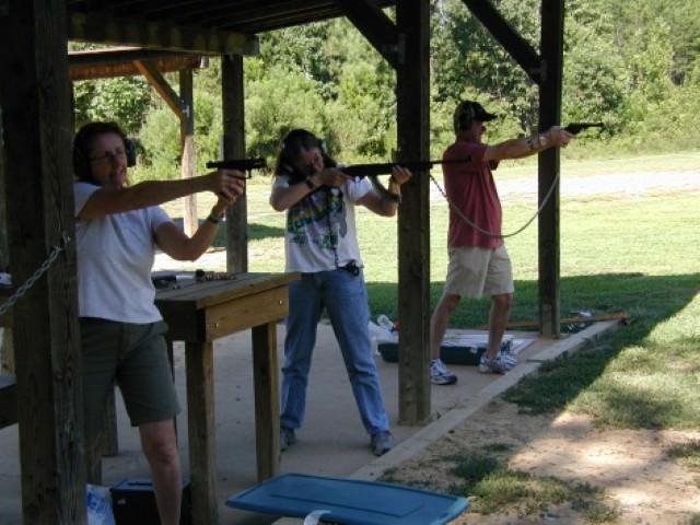 Jeannette and Friends at Outdoor Firing Range