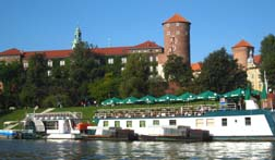 Wawel Castle and restaurant boat