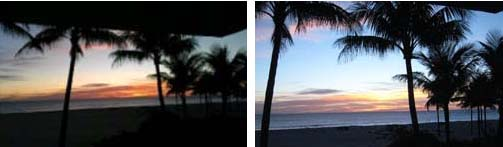 Florida sunrise | My Touch photo on left | Canon camera photo on right