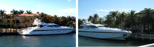 David Stern's yacht and house | My Touch photo on left | Canon camera photo on right