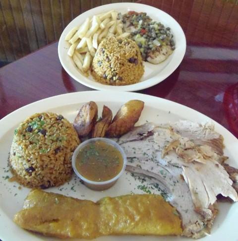 Grouper Dish on Top & Pork Dish on the Bottom