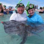 Dan and Jeannette Swimming with Sting Rays in Antiqua