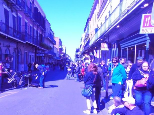 Getaway to New Orleans: Street musicians playing for tips on Bourbon Street.