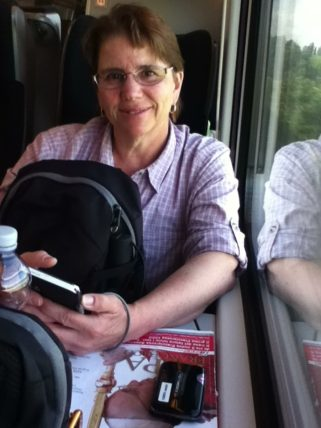 Jill on the Train from Rome to Venice
