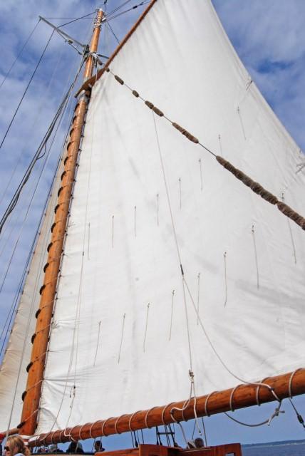 Schooner Zodiac's Mainsail is 6000 sq. ft.