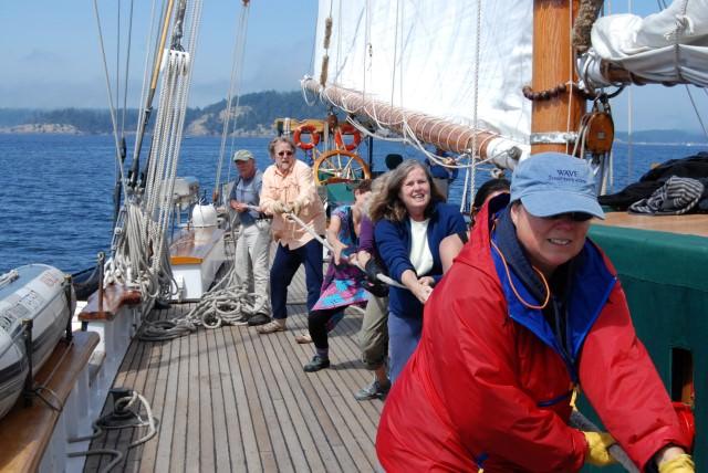 Raising the Sails on Schooner Zodiac