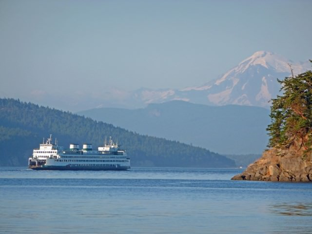 View of Mt. Baker and Anacortes Ferry from Schooner Zodiac