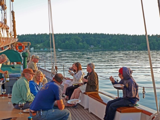 Dining on Deck of Schooner Zodiac as the Sun Sets