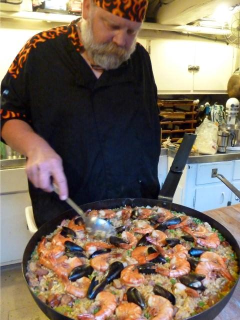 Schooner Zodiac Cook Ian Relay Prepares Seafood Paella