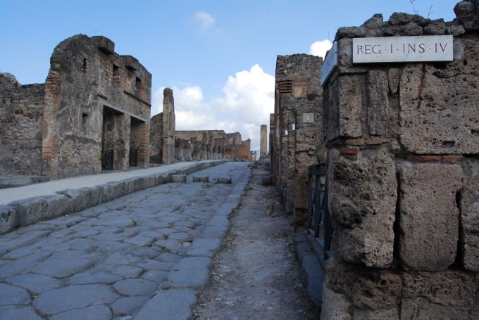 Walking the cobbled streets of the ancient Roman city of Pompeii