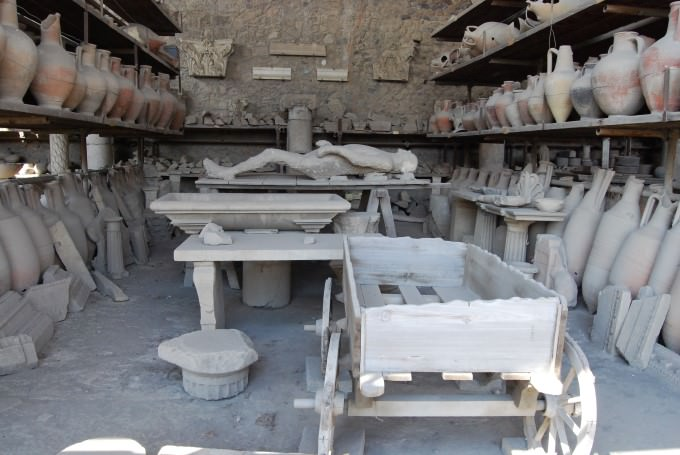 Excavated artifacts at Pompeii