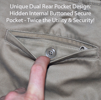 Clothing Arts Business Traveler Pants Rear Hidden Pockets