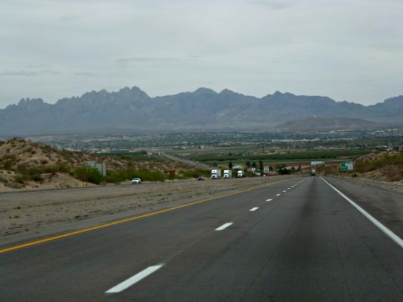 Approaching Las Cruces in New Mexico