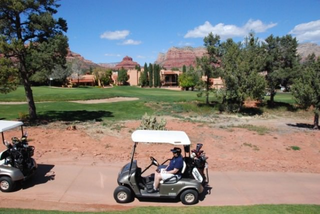 Jill plays golf at Sedona Golf Resort