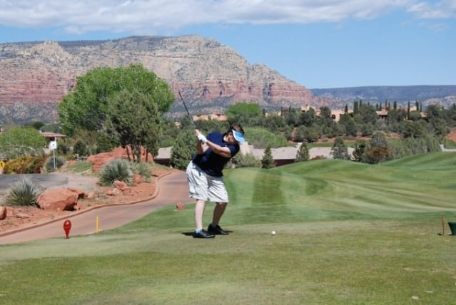 Jill golfing Sedona Golf Resort