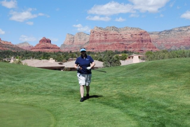 Jill golfing at Sedona Golf Resort