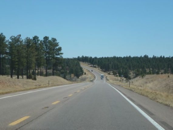 Driving between Payson and Show Low in Arizona