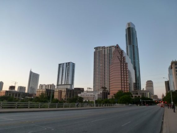 Austin skyline as the sun starts to set