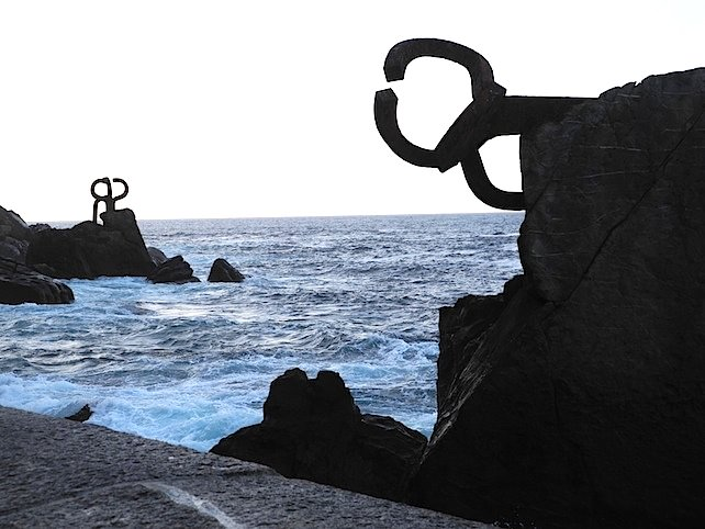 """Wind Comb"", by the sculptor Eduardo Chillida is San Sebastian's most famous piece of public art. Photo by Mary D'Ambrosio."
