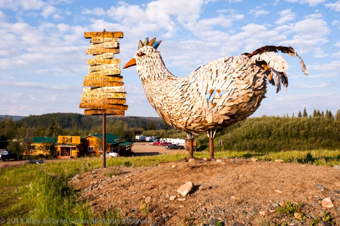 Chicken sculpture overlooking the Chicken Gold Camp & Outpost in Chicken, Alaska.