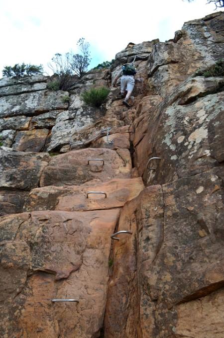 Metal rungs to help navigate the steep rock