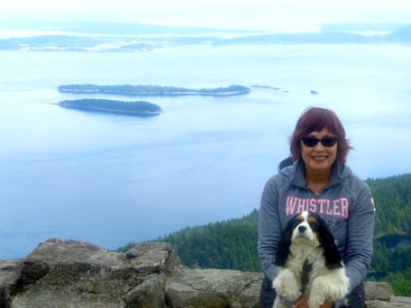 Linda Ball and Abbey at top of Mt. Constitution, the highest point on the San Juan Islands