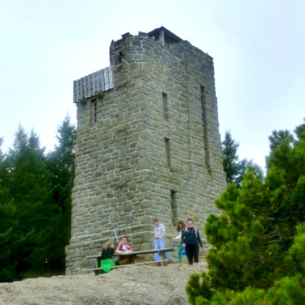 Stone observation tower in Moran State Park, Washington