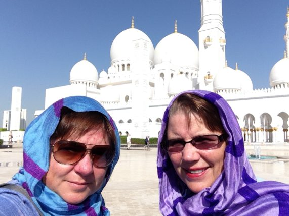 Viv and Jill in Abu Dhabi with Holland America Line