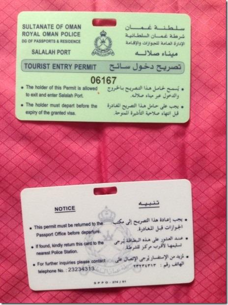 Boarding Card for Oman