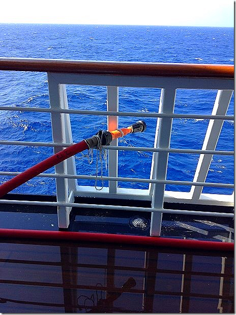 Hoses at the ready for pirates in the Red Sea