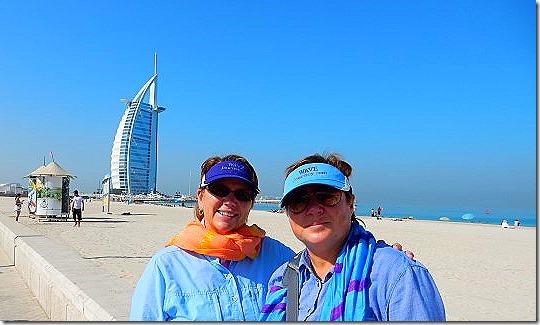 Jill and Viv at Jumeirah Beach