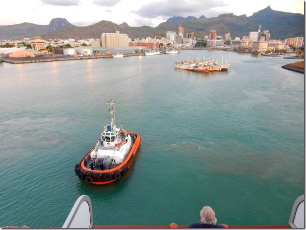 Pilot boat escorts ms Rotterdam in Mauritius