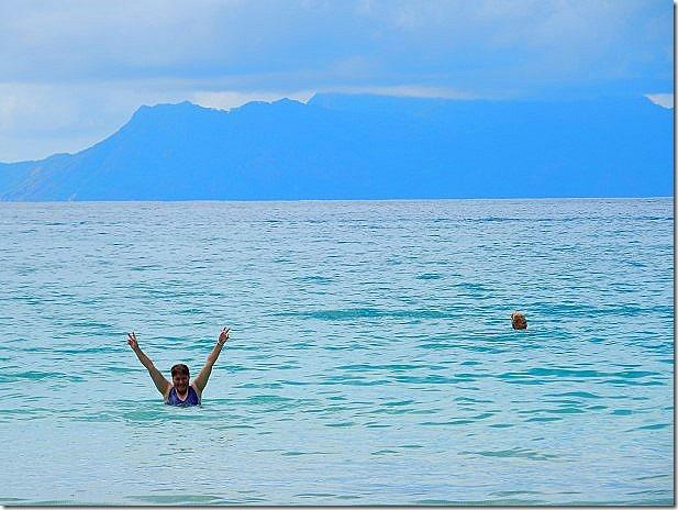 Viv swimming at Beau Vallon Beach in the Seychelles