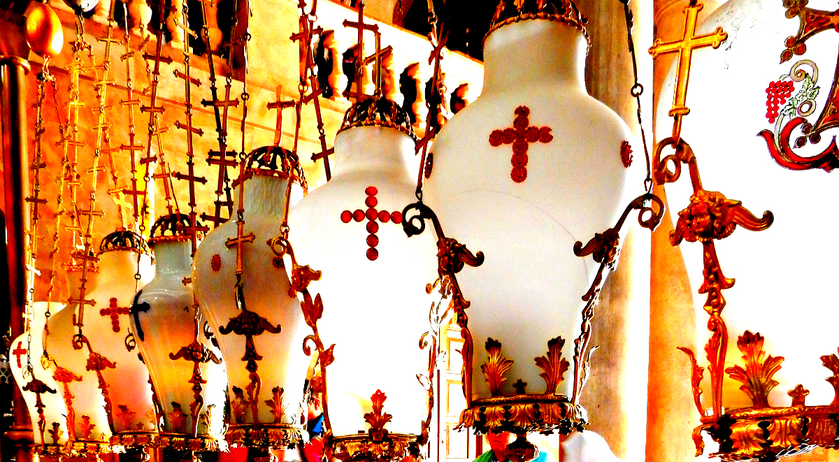 Lamps above Stone of The Anointing