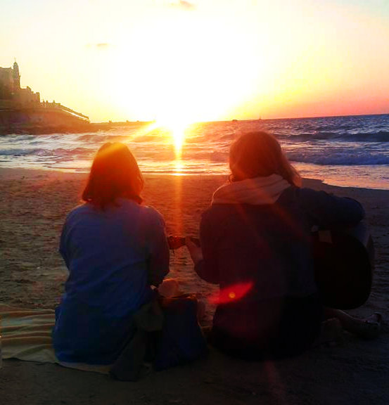 A sunset on the beach of Tel Aviv