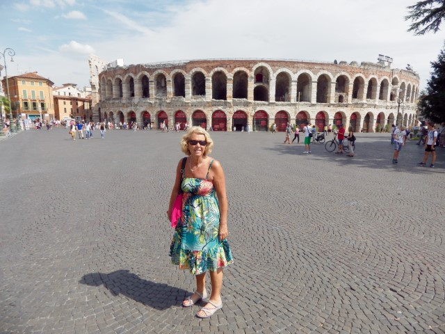 Diane in front of the Roman arena in Verona, Italy