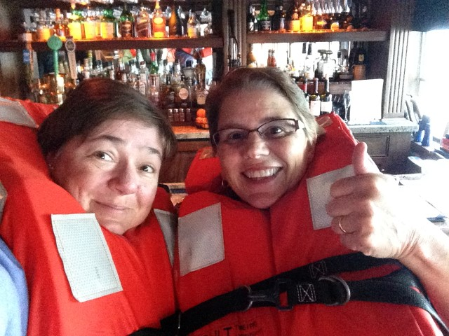Wearing our life jackets for the safety drill on S.S. Legacy