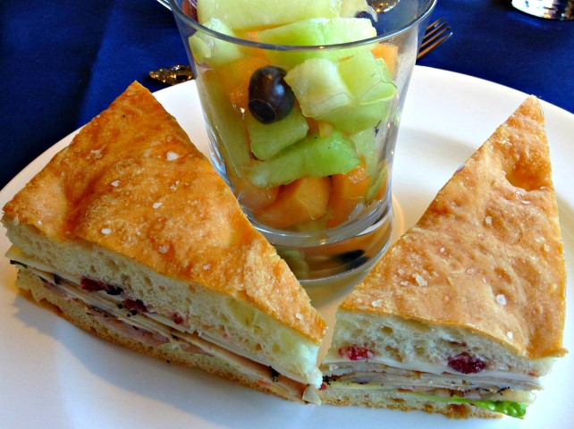 Lunch - Sliced Turkey on Foccacia with Fruit Cup