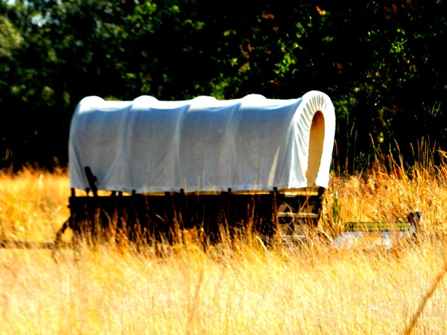 Wagon on Oregon Trail at the Whitman Mission