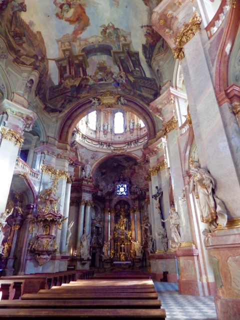 The Baroque Church of St Nicholas in the Lesser Town Square of Prague.