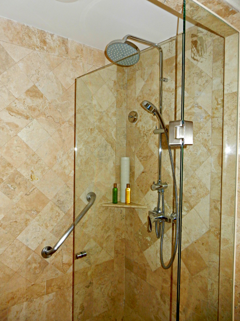 Rain Shower in Guest Bathroom at Dreams Los Cabos