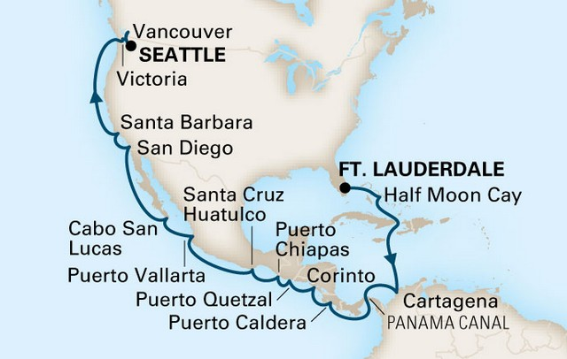 Holland America Line - Panama Canal Itinerary Map